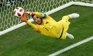 Hugo Lloris in action for France against Belgium in the World Cup semi-final in Russia.