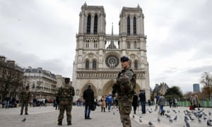 Soldiers patrol in front of Notre Dame cathedral in November 2015.