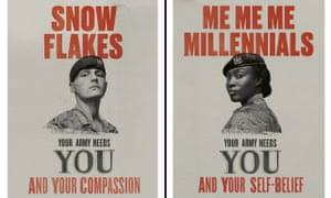 Two of the new 'Your Army Needs You' images, from a series created for the latest armed forces recruitment campaign, emphasising diversity of character and background.
