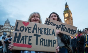 Anti-Donald Trump protesters outside the UK parliament in February 2017.