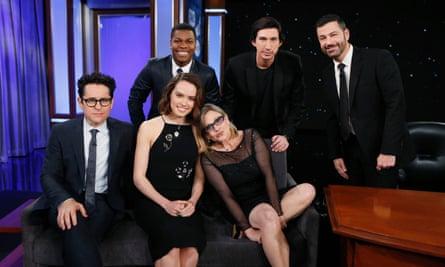 Star Wars: The Force Awakens cast members on the US Jimmy Kimmel Live talk show.