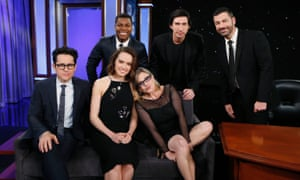 "ABC's ""Jimmy Kimmel Live"" - Season 13<br>JIMMY KIMMEL LIVE - Emmy Award-nominated ""Jimmy Kimmel Live"" airs every weeknight (11:35 p.m. - 12:41 a.m., ET), packed with hilarious comedy bits and features a diverse lineup of guests including celebrities, athletes, musicians, comedians and humorous human interest subjects. The guests for MONDAY, NOVEMBER 23 included director J.J. Abrams &amp; cast Adam Driver, Daisy Ridley, John Boyega &amp; Carrie Fisher (""Star Wars: The Force Awakens""). (Photo by Randy Holmes/ABC via Getty Images)"