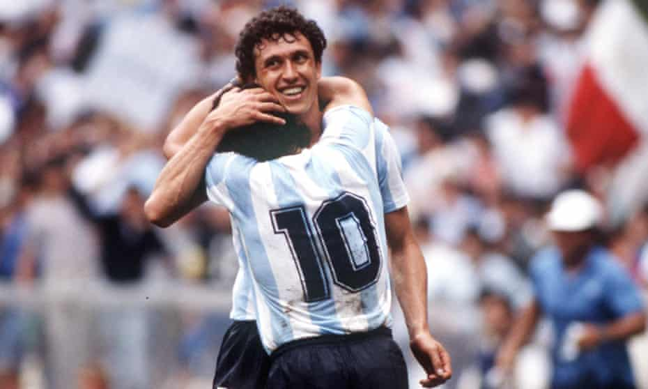 Diego Maradona is congratulated by Jorge Valdano after he scored the second goal in Argentina's 2-0 win over Belgium in the 1986 World Cup semi-final.