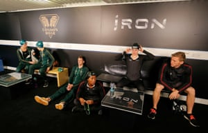 Members of London Roar and Team Iron wait for their races.