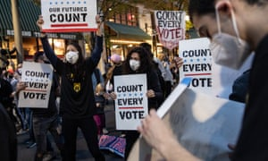 People dance and hold signs during a protest in support of counting all votes in Philadelphia, Pennsylvania, on 5 November.