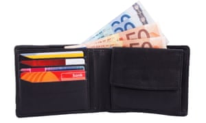 wallet with cash (euros) and cards
