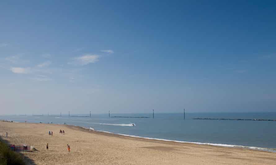 Sea Palling beach on a hot summer's day.