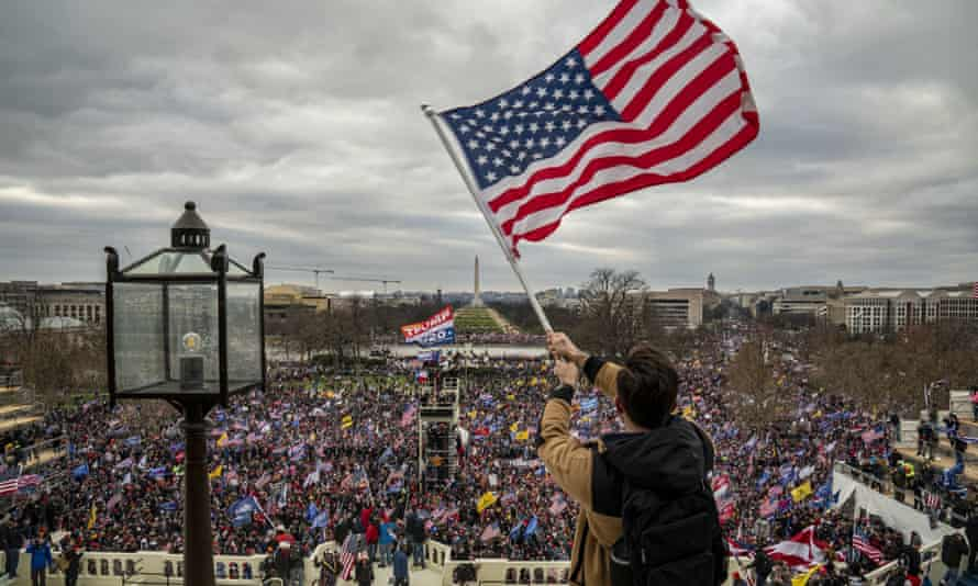 Pro-Trump rioters breach the security perimeter at the US Capitol on Wednesday.