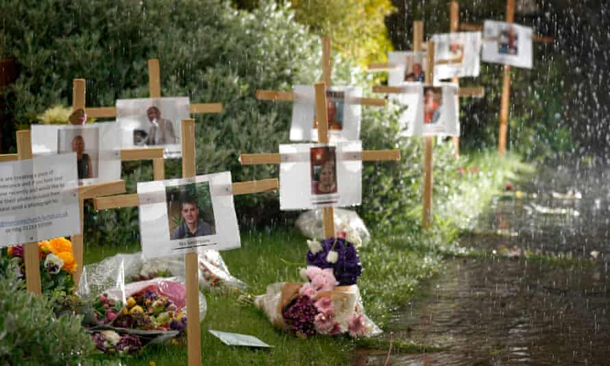 A memorial garden for people who died during the lockdown, outside a church in Burton-on-Trent