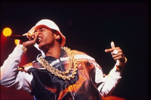 LL Cool J headlining the Def Jam tour at London's Hammersmith Odeon in 1987, wearing his trademark Kangol hat and leather Troop outfit