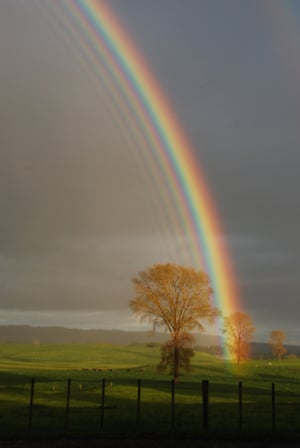 A primary rainbow with a series of extra, or supernumerary bows inside it, Hinuera, Waikato, New Zealand