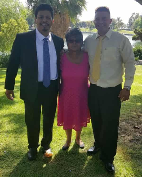 Nicolas Sanchez (right) with childhood friend Vincente Mata on left and Vincente's mother in the middle.