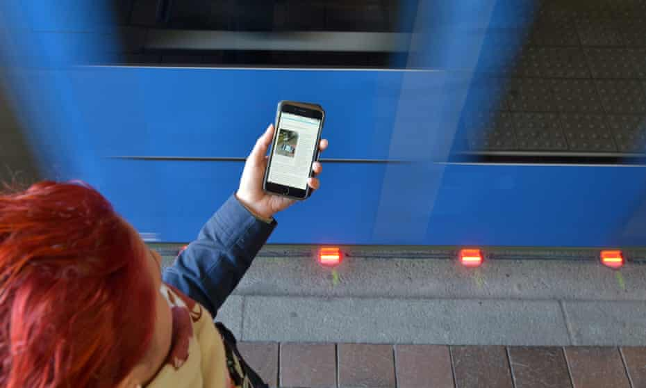 To be more visible to people looking down at their mobile phones, Haunstetterstraße station in Augbsurg, Germany has installed traffic lights at ground level.