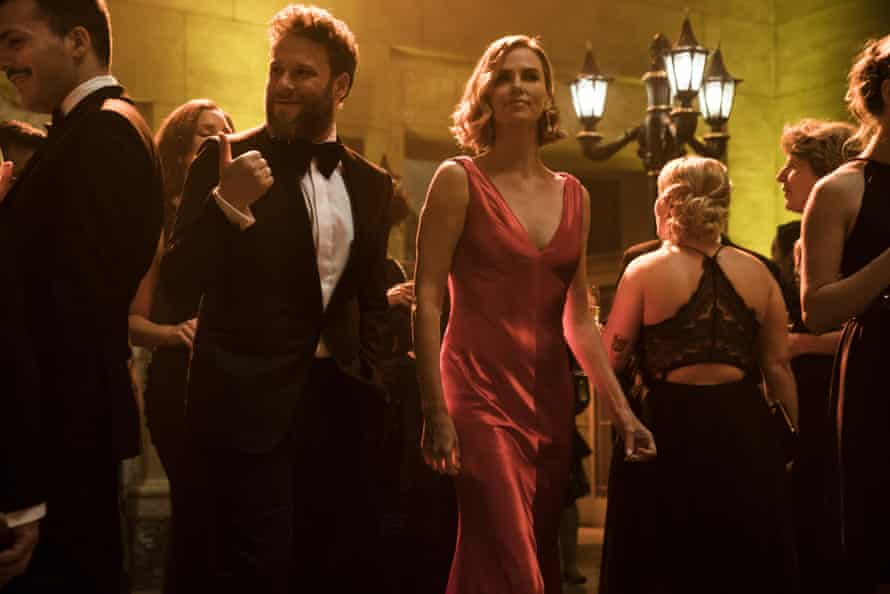Shenanigans … Seth Rogen and Charlize Theron in Long Shot.