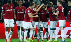 Michail Antonio (third right) is congratulated by his teammates after scoring West Ham's third.