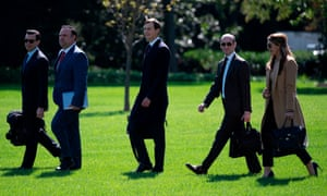 Assistant to the President and Director of Oval Office Operations Nicholas Luna, Assistant to the President and Deputy Chief of Staff for Communications Dan Scavino, Senior Advisor to the President of the United States Jared Kushner, Senior Advisor to the President Stephen Miller, and counselor to President Hope Hicks walk to Marine One to depart from the South Lawn of the White House in Washington, DC on 30 September 2020.