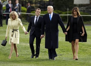 The Trumps and their guests stride across the south lawn. Trump is deeply unpopular in France and Macron, like other world leaders, is under growing pressure to show voters the benefits of his courtship.