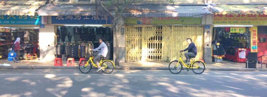 Making cycling cool again … share bikes in Guangzhou.