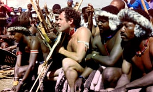 Johnny Clegg in a traditional Zulu outfit during his wedding to Jenny Bartlett in 1989. He was fascinated by Zulu culture, and was known as the 'white Zulu'.
