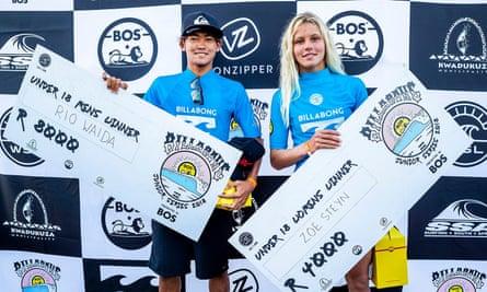 2018 Billabong junior winners, Rio Waida (Indonesia) and Zoe Steyn (East London, SA) at Willard Beach, Ballito.