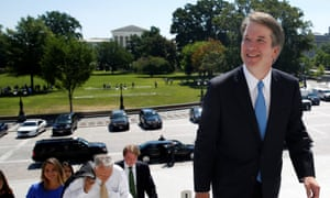 Donald Trump's supreme court nominee Judge Brett Kavanaugh arrives at the US Capitol in Washington on Tuesday.