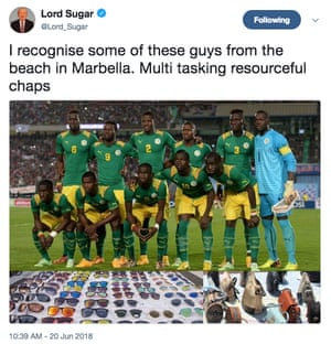 Lord Sugar's controversial tweet featuring the Senegal squad.