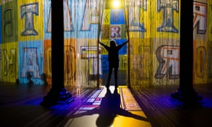 An attendant enters the Curtain Call installation by the artist Ron Arad at the Roundhouse in London, UK