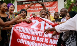 People during a protest calling on the government to rescue the girls kidnapped from the Chibok school.