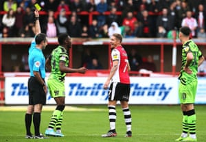 Exeter's Lee Martin, laughing off a yellow card against Forest Green, says: 'I'm probably enjoying my football the most I've ever done.'
