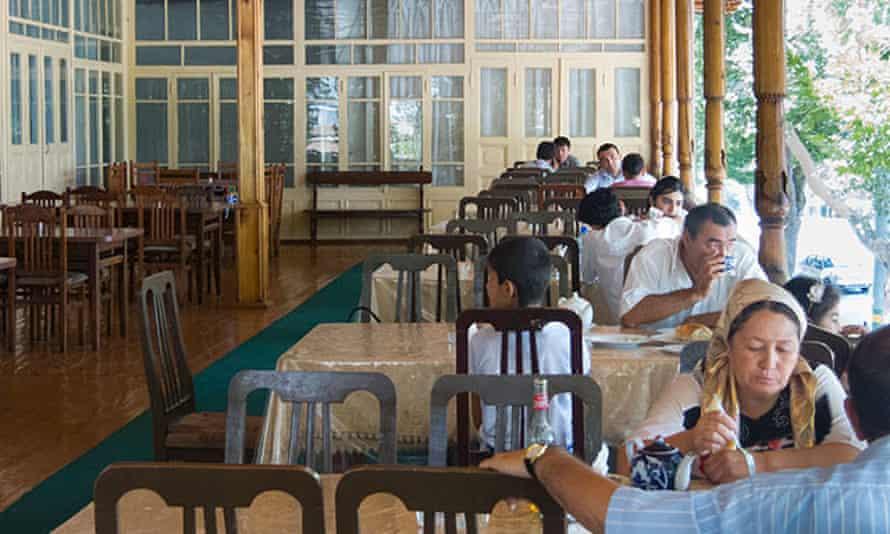 Customers at a chaikhana (teahouse) in Samarkand.