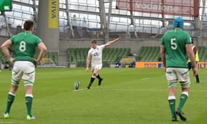 Owen Farrell of England kicks a penalty to get England's first points on the board.