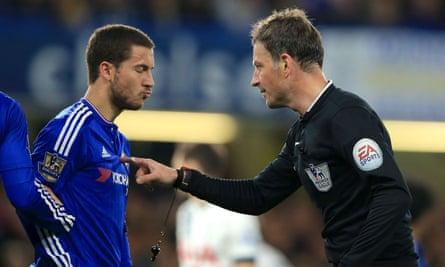 Mark Clattenburg and Chelsea's Eden Hazard