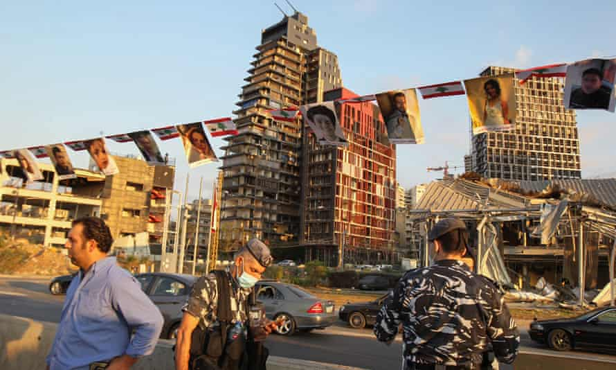 A memorial showing the photographs of the more than 200 people who died in the Beirut port explosion.
