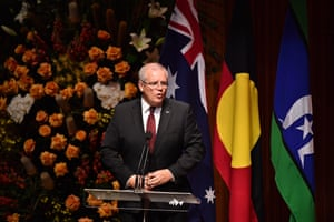 Prime minister Scott Morrison speaking during the state memorial service for Bob Hawke.