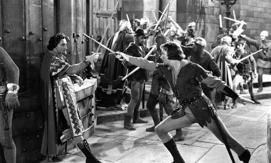 The Adventures of Robin Hood, with Basil Rathbone and Errol Flynn.