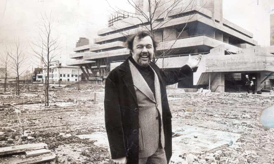 Sir Peter Hall outside the National Theatre on London's Southbank.