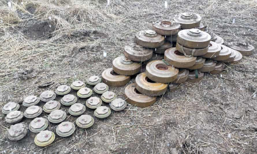 Landmines discovered during a clearing exercise in Agdam in January 2021