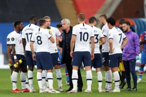 Jose Mourinho talks to his team during a drinks break against Crystal Palace at the tail end of last season.