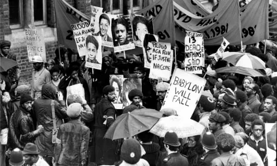 Protesters out in force for the march that followed the New Cross fire, the Black People's Day of Action, on 2 March 1981.