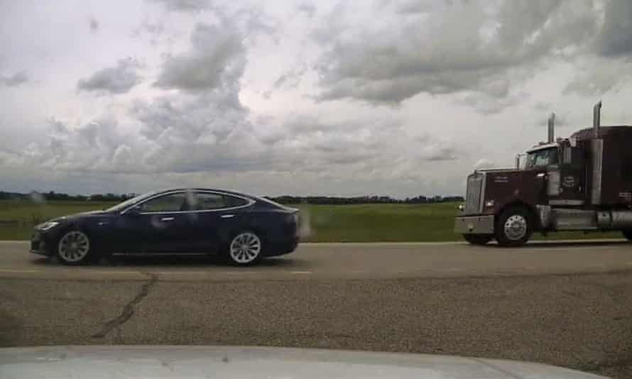 This police image shows the Model S Tesla driving on the highway near the town of Ponoka in Alberta.