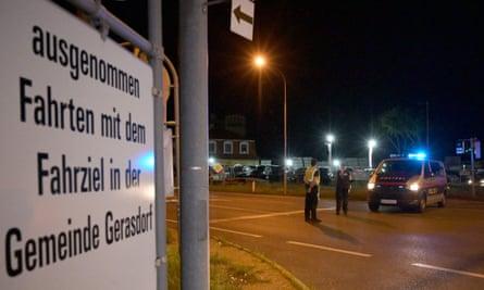 Police blocks a street near the site of the shooting in Gerasdorf, near Vienna, on Saturday