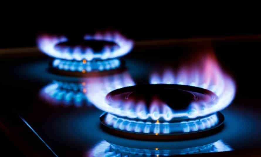 gas flames on a cooker rings.