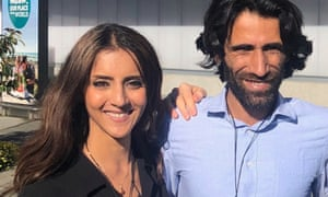 New Zealand Greens MP Golriz Ghahraman with former Manus Island detainee Behrouz Boochani in Christchurch.
