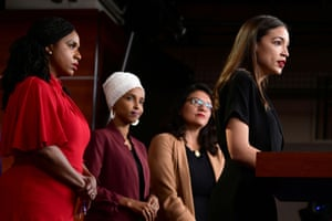 Ayanna Pressley, Ilhan Omar, Rashida Tlaib and Alexandria Ocasio-Cortez hold a news conference after Democrats in the US Congress moved to formally condemn President Donald Trump's attacks on the four minority congresswomen on Capitol Hill.