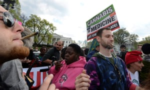 Advocates for the legalization of marijuana light up in front of the White House during a demonstration last week.