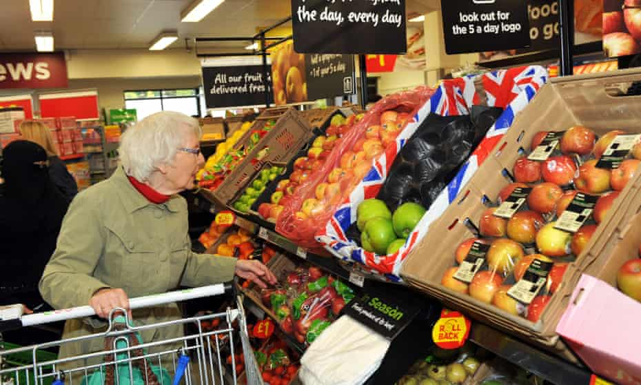 Fruit and vegetables on sale in a supermarket West Yorkshire