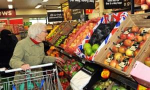 Fruit and veg aisle in Tesco