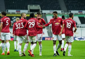 Man United players celebrate