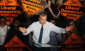 Tim Farron gives a speech as he becomes the new leader of the party at Islington Assembly Hall, north London.