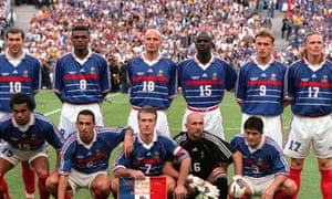 The French national side before the World Cup final against Brazil in 1998. Lilian Thuram is wearing No 15; Zidane No 10.